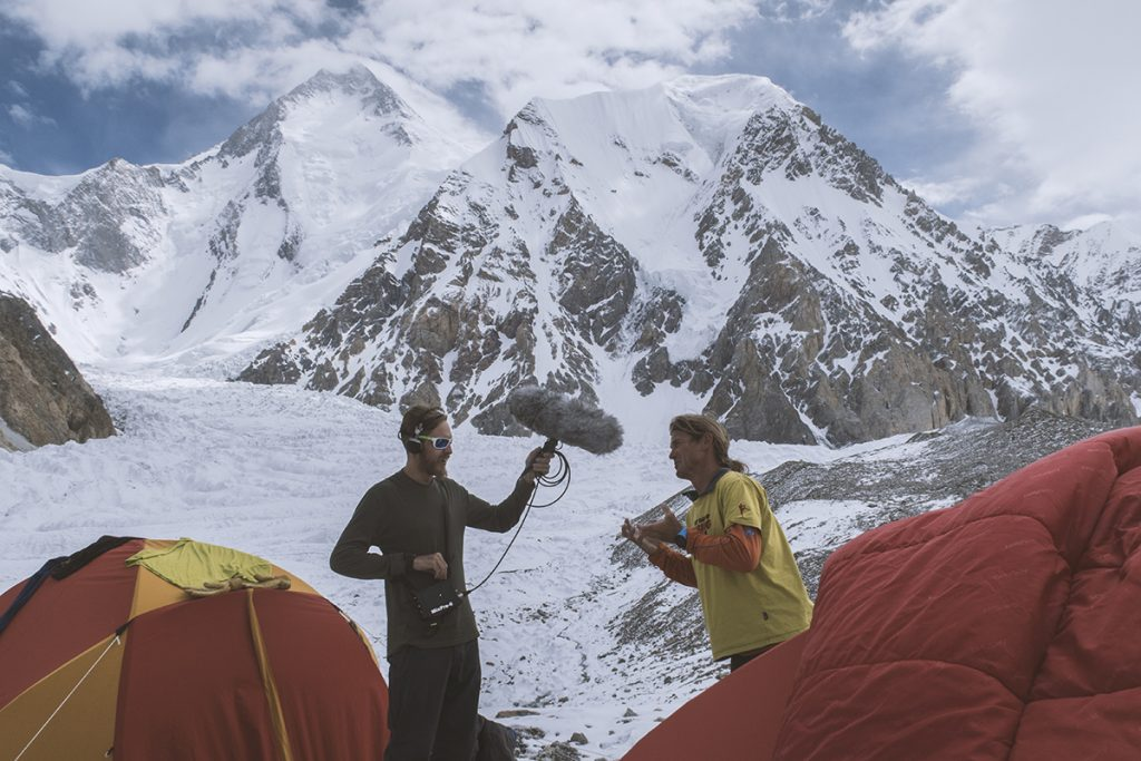 Conducting an interview at base camp with the MixPre-6
