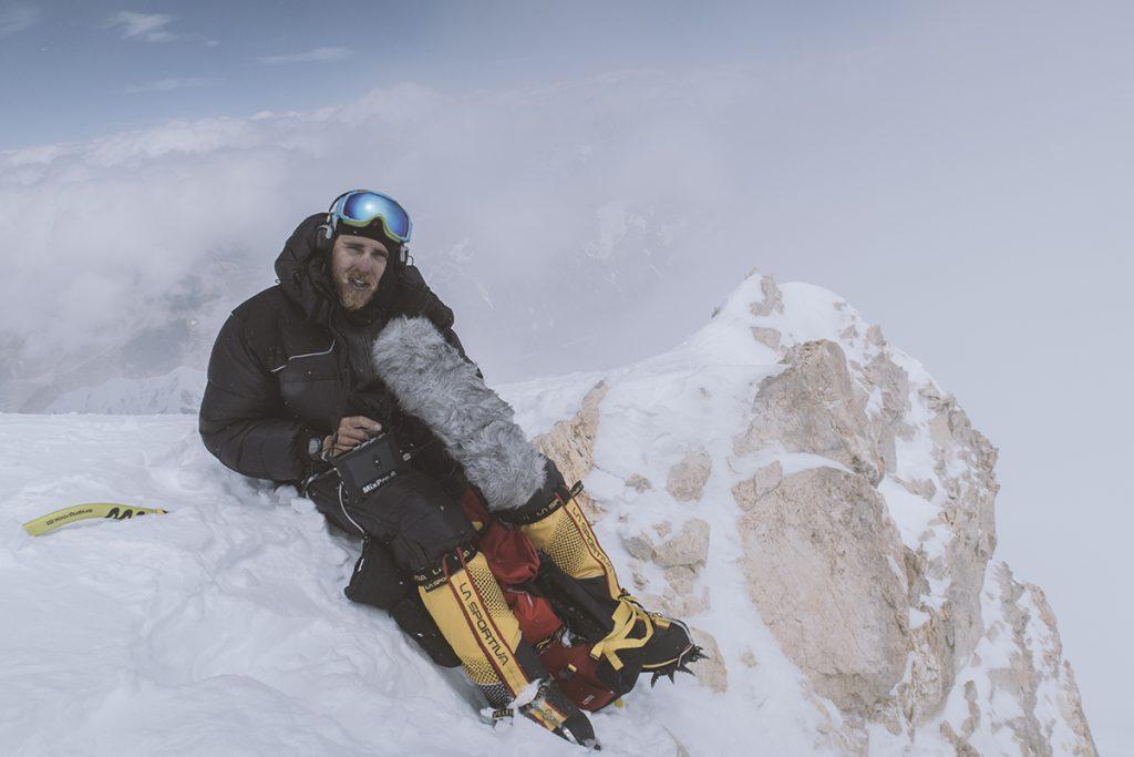 Ivo recording audio at peak of Gasherbrum II in Pakistan
