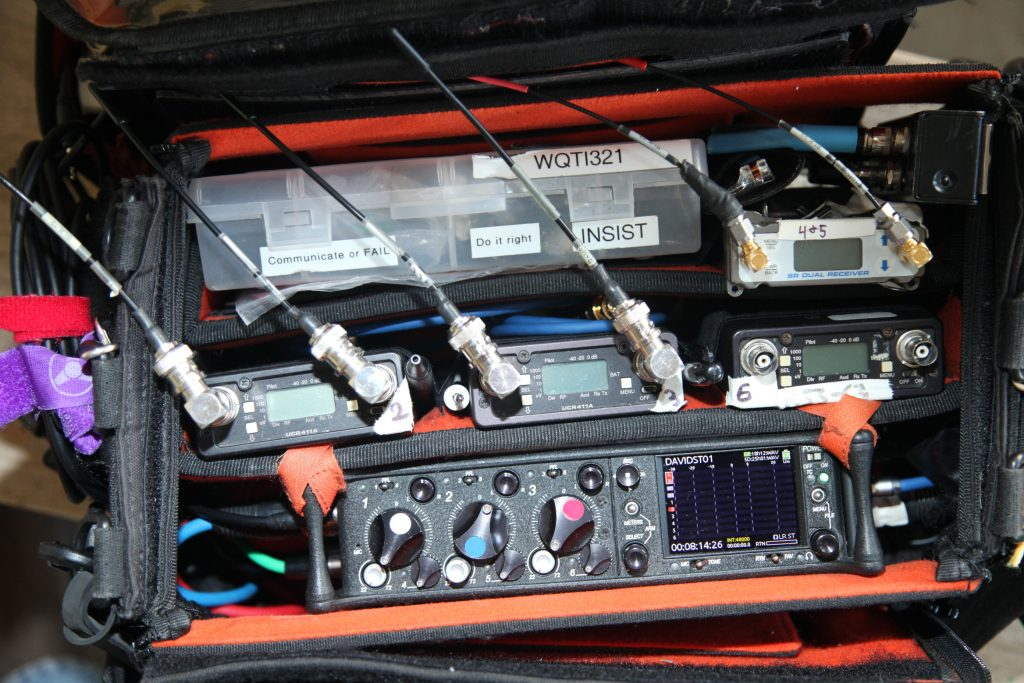 Silberberg's gear bag with a Sound Devices 633